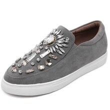 Femmes Appartements chaussures mocassins Espadrilles 2017 Printemps Automne bout Rond Crystsal Femmes Glissement sur Plat Plate-Forme Femme Chaussures Noir/gris