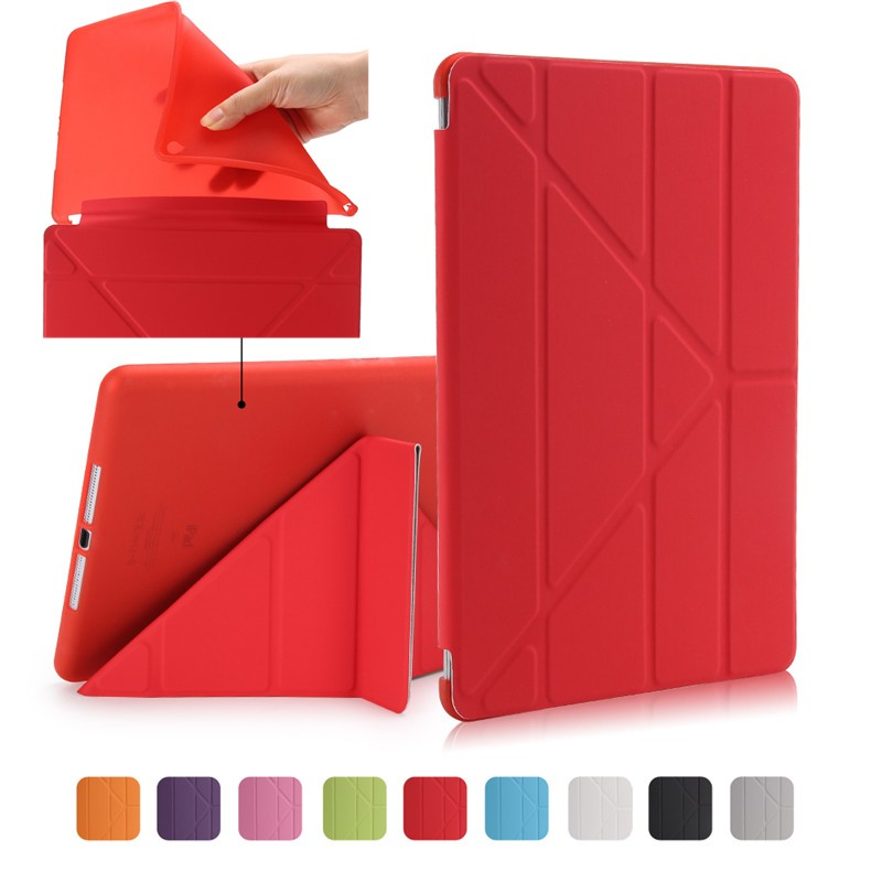 For Ipad Air 2/Air 1 Smart Case 5 Shapes Stand Ultra Thin PU Leather Cover Silicon Soft