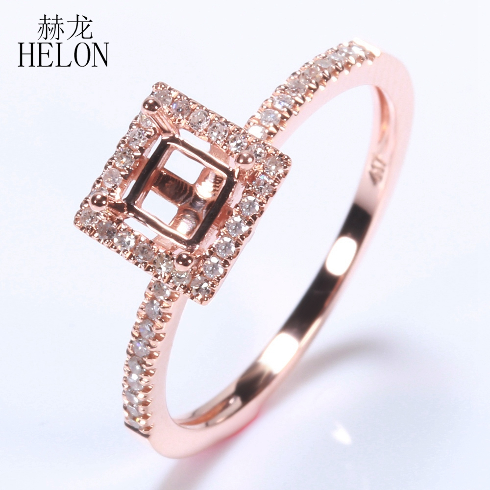 HELON Solid 10k Rose Gold 4mm - 4.5mm Cushion Cut Engagement Wedding Semi Mount Pave 0.2ct Natural Diamonds Ring Fine Jewelry helon solid 10k rose gold 6mm round cut semi mount engagement anniversary band pave natural diamonds wedding fine jewelry ring