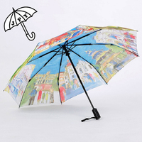 Full Automatic Restoring Ancient Ways Oil Painting Parasol Umbrella Three Folding Super Creative Male and Female Sun Umbrella