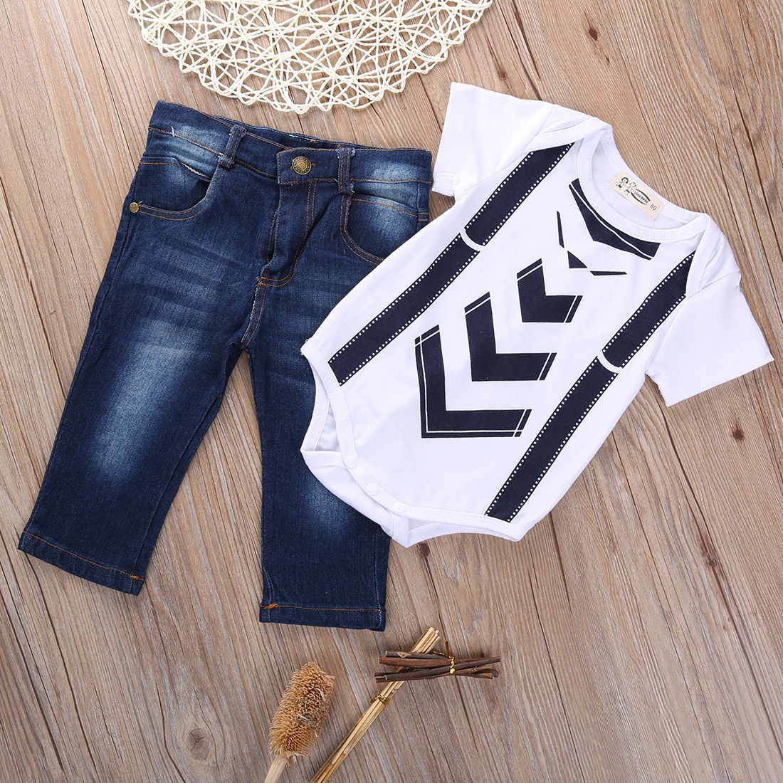 2016 Infant Baby Boy Toddler Short Sleeve Bow Tie Suspenders Bodysuit Shirt Tops Jeans Pants Outfit 0 24M 2019 in Clothing Sets from Mother Kids
