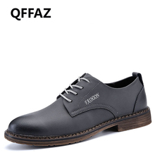 QFFAZ 2018 New Bullock Genuine Leather Men Dress Shoes High Quality Oxford Men Shoes Lace-Up Fashion Breathable Men Casual Shoes