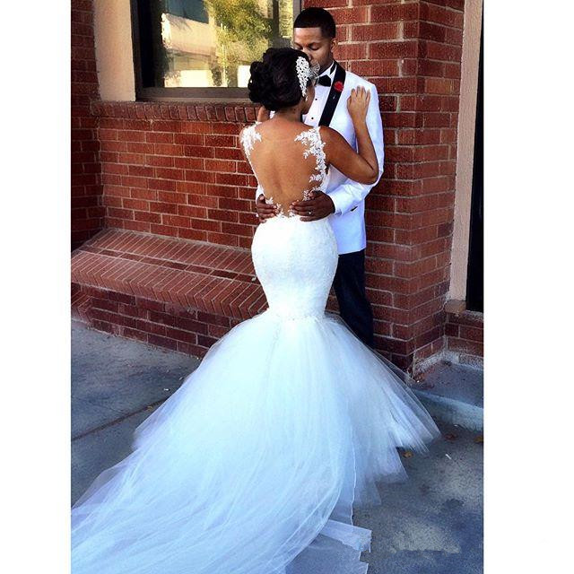 South Africa Mermaid Wedding Dresses Spaghetti Straps Lace Appliques Ruched Gowns Sheer Back Floor Length Bridal In From
