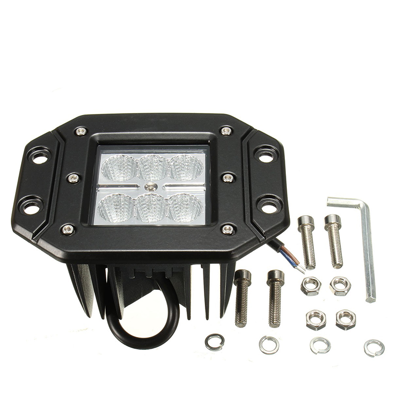 4 Inch 18W Square Flood LED Bar Work Light Bar Bumper Off Road All Cars For Jeep Wrangler Best Quality Wholesale Price Day Light