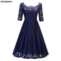 In Stock Navy Blue Cocktail Dresses Elegant Short Little Black Dress Lace Formal Dresses Cheap Simple