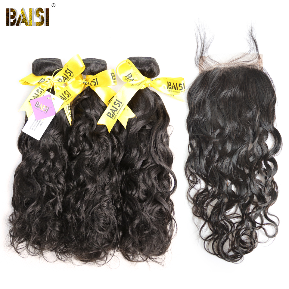 BAISI 100% Unprocessed European Virgin Hair Extensions Water Wave 10-28inch 3 Bundles with Closure Free Shipping, Natural Color