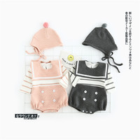 2017 New Spring Baby Romper Pink Dark Grey Colour 0 2Y Navy Style Girls Boys Infant