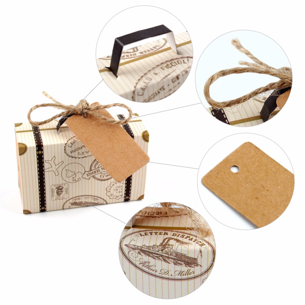 OurWarm 10Pcs Mini Suitcase Candy Box Handmade Kraft Paper Wedding ...