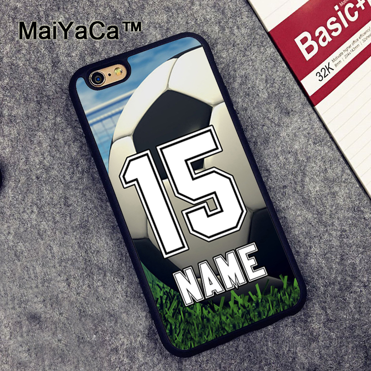 MaiYaCa Personalized Number and Name Soccer Ball Slim Rubber Back Cover Cover Fundas for iPhone 6 6S Phone Case for iPhone 6s