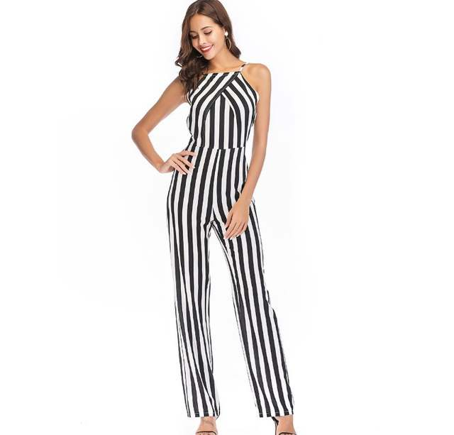 08f8b00c864 Newest Female Sexy Strapless Backless Black and White Striped Long Pants  One Piece Jumpsuits Rompers Lady