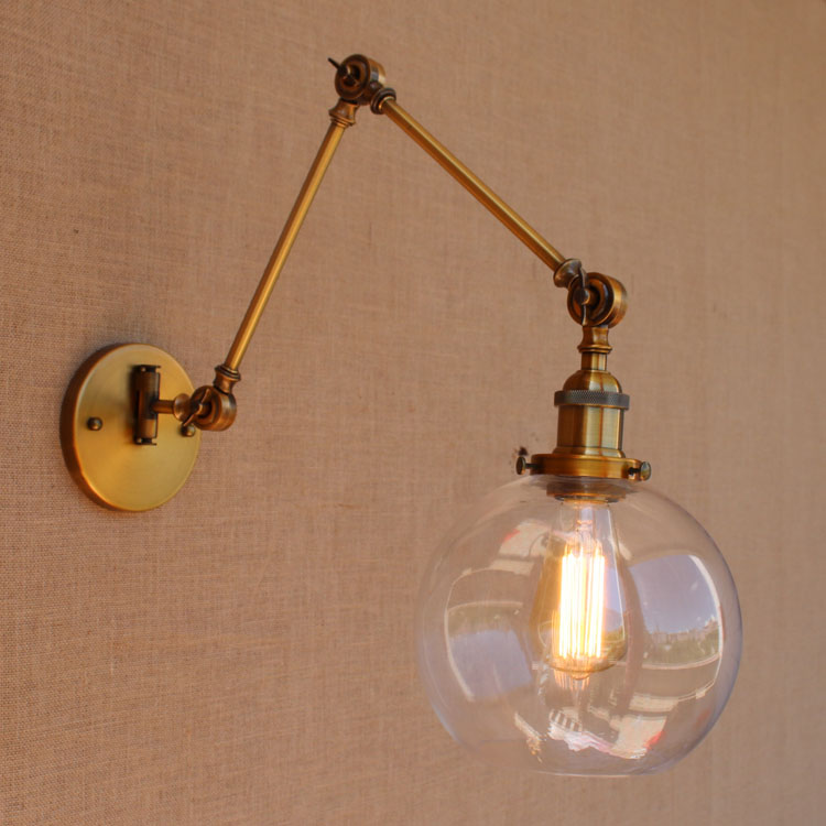 Glass Brass Adjustable Long Arm Wall Light Vintage Edison Loft Style - Indoor Lighting - Photo 4