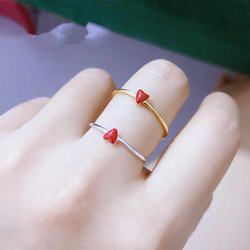 PINJEAS S925เงินสเตอร์ลิงแดงรักเปิดแหวนสำหรับผู้หญิงที่เรียบง่ายของขวัญเครื่องประดับ