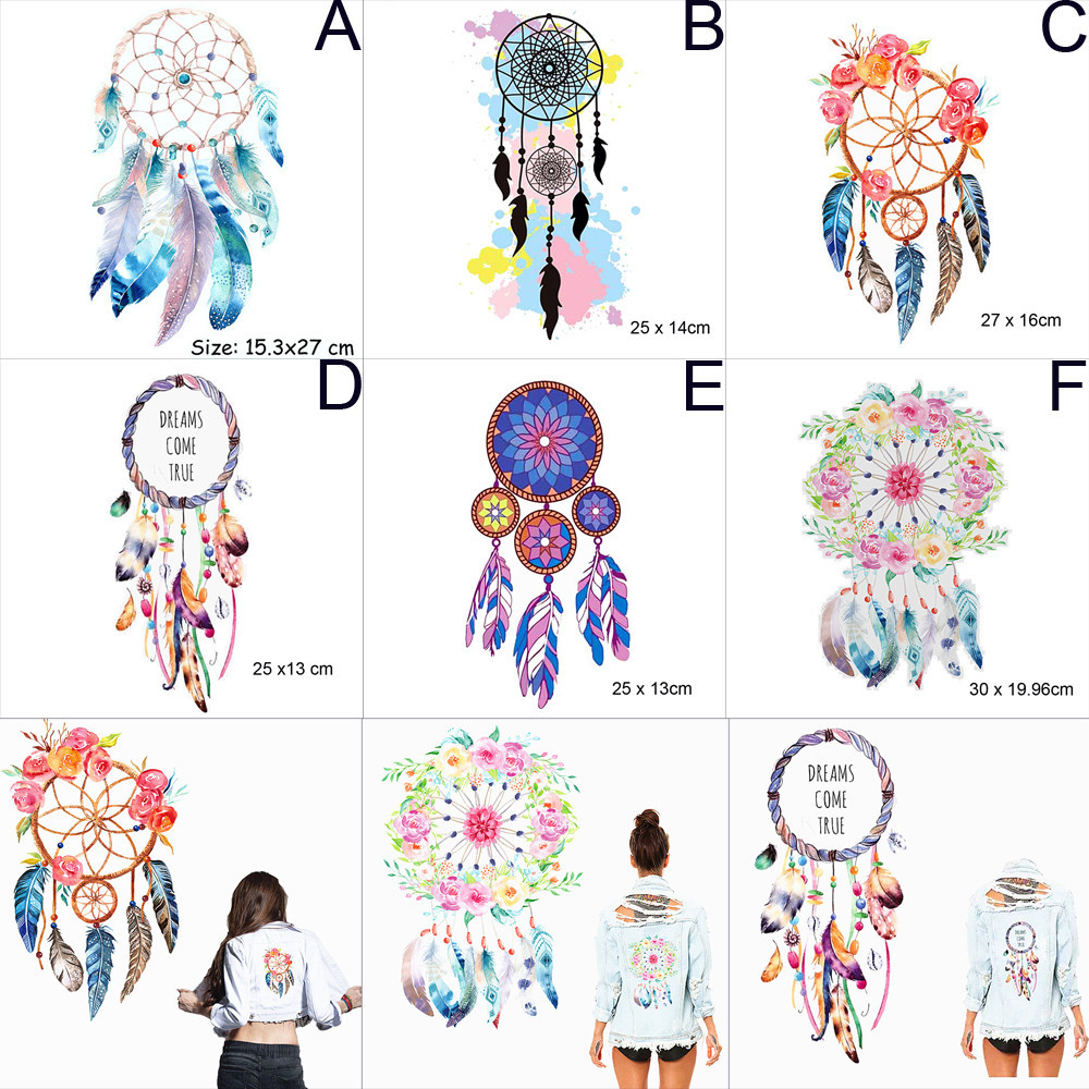 Fashion Style Mamao Boho Dreamcatcher Iron On Transfers Clothes Decoration Diy Accessory Washable New Design Print On T-shirt Clothes Stickers Video Games