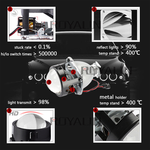 ROYALIN Bi Xenon Headlights Retrofit H1 Mini HID Projector Bulb Bixenon H4 H7 Car Motorcycle Light Lenses 12V Auto Lamp 2.5 Lens