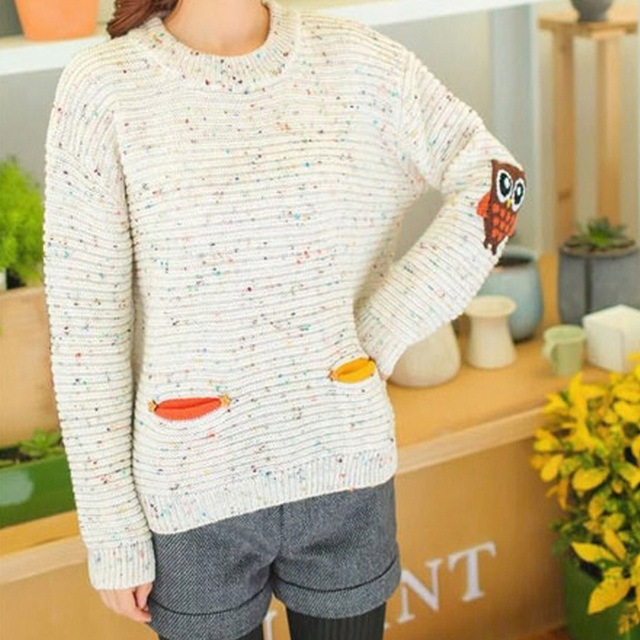 Knitted Sweaters Women Cute Knitted Pullover Long Sleeve Appliques