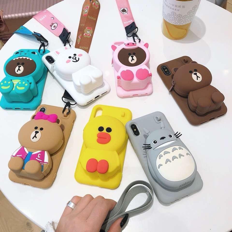 3D Cartoon Totoro Cony Sally Zipper Wallet Phone Case for iPhone 6 6s Plus 7 8