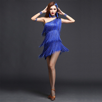 2016 Women Competition Dance Clothes Embroid Costume 3pcs Set With Sleeves Fringe Ballroom Dresses Latin