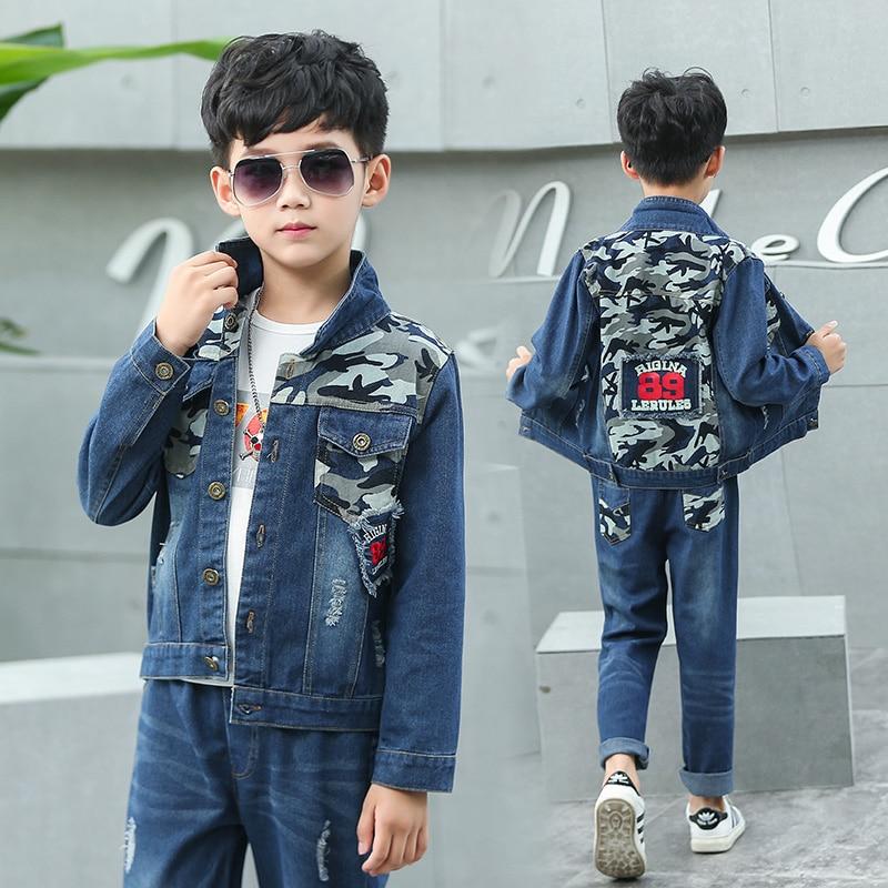 FYH Children Clothes Spring Autumn Boys Denim Clothing Sets High Quality Kids Jean Jacket & Pants 2pcs Boys Suit Sets Camouflage цена и фото