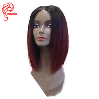Hesperis Ombre Lace Front Wig Red Short Human Hair Bob Wig For Women 130% Pre Plucked Brazilian Remy Hair Straight 1b/99J