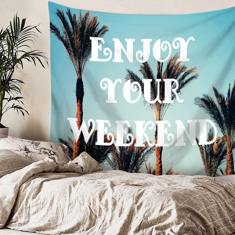 Beautiful Inspire Sentence Tapestry Moon Earth Hanging Wall Picture Scenery Beach Towel Nature Tenture Mural Polyester Carpet image