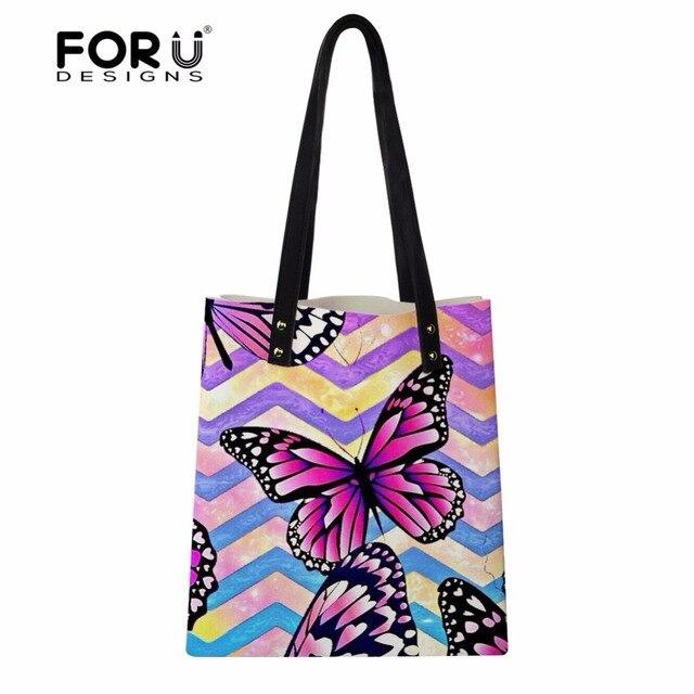 a089ff0154 FORUDESIGNS Cute Butterfly Pattern Women PU Leather Tote Bags Fashion Girls  Beach Shoulder Messenger Bags Woman