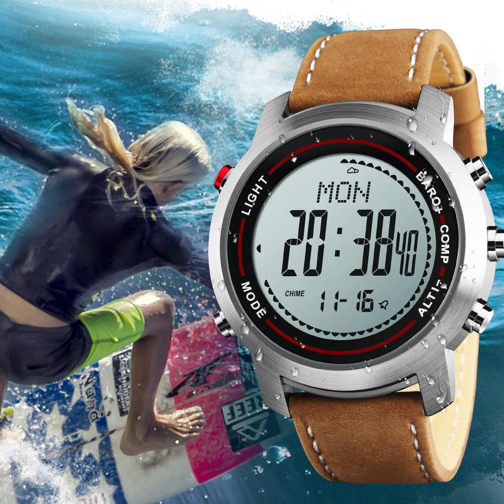 e8a17ce50 Men s Outdoor Military Sports Watches Weather Compass Genuine Leather Strap  Waterproof LED Digital Wrist Watch Relogio