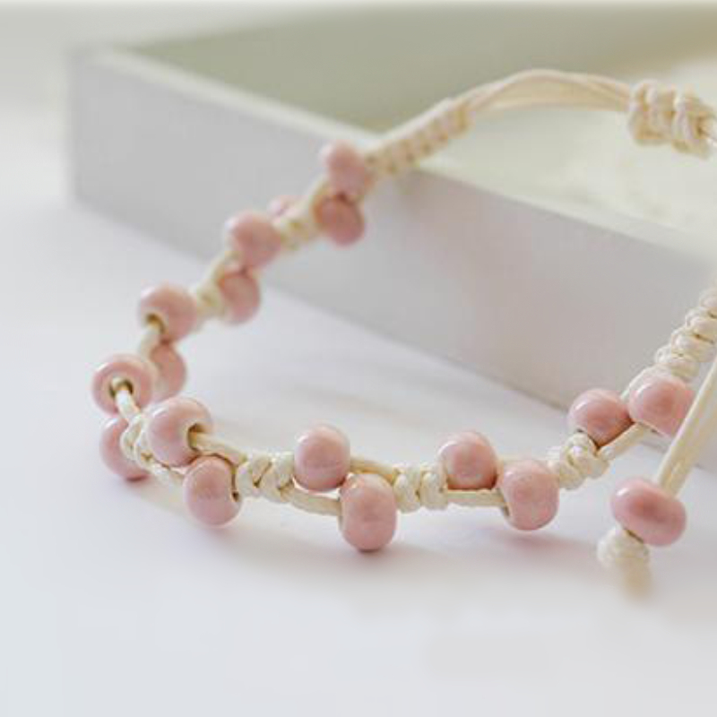 8SEASONS New Design Fashion Weave Bracelets Pink Ceramic Beads Rope Chain Women Jewelry Accessories, 1 Piece