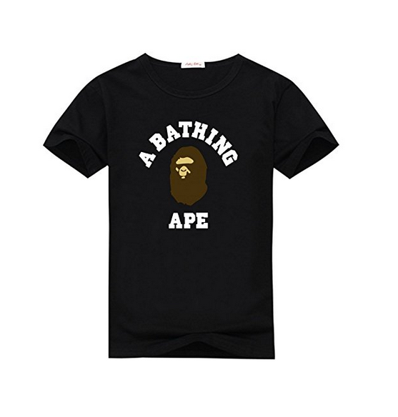 Bape Brown and White Graphic Mens Classic Cotton T-shirt Top MenS T Shirts Short Sleeve O-Neck Cotton Punk Tops ...