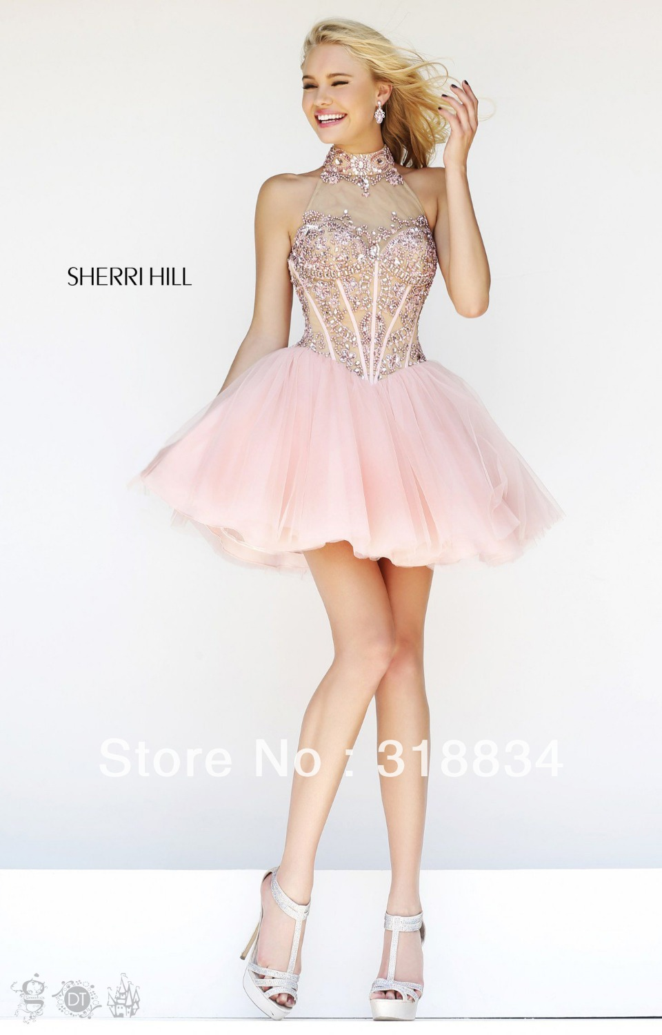 2015 Simple Design Light Pink Tulle Cocktail Dresses High Neck ...