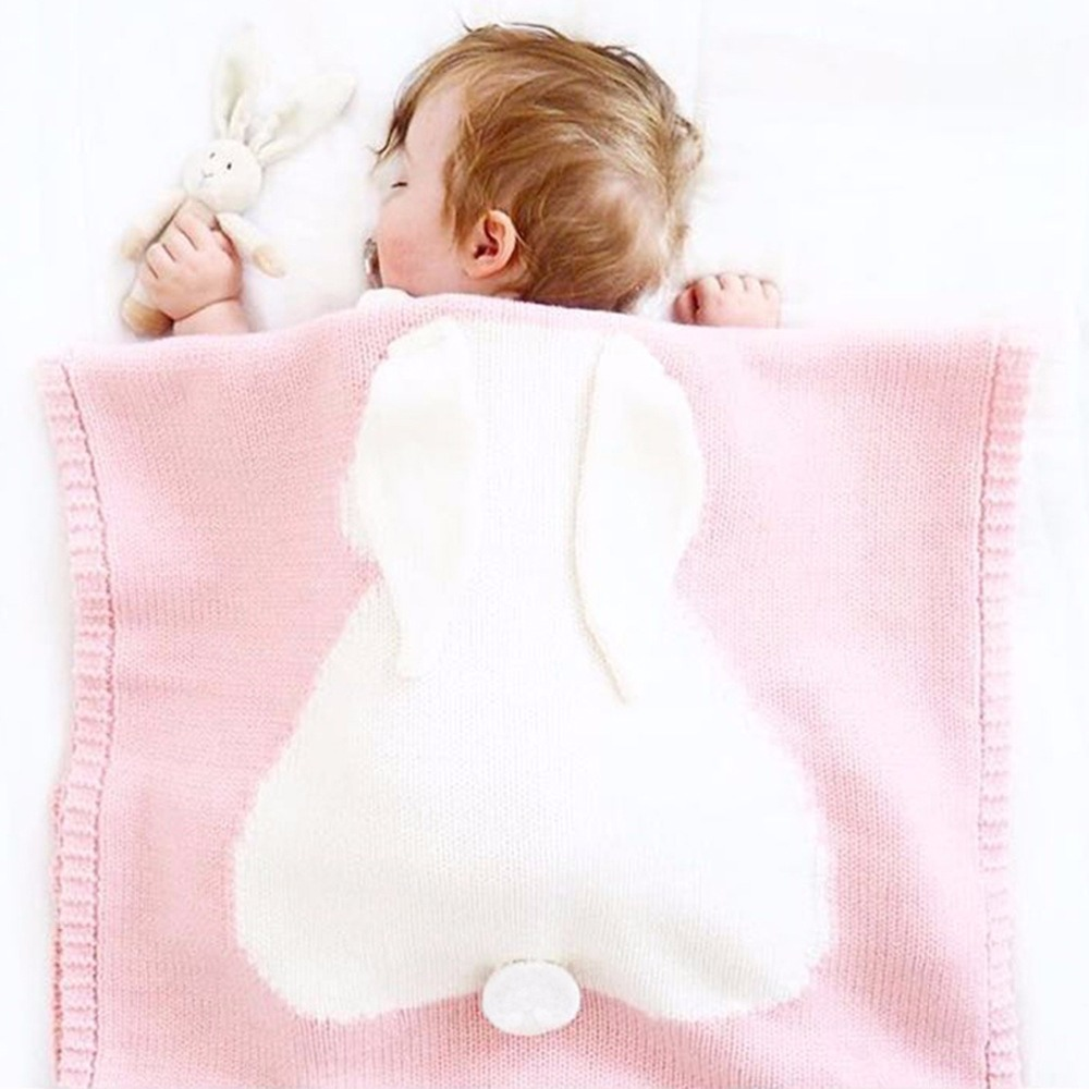 Air Condition Quilt Rabbit Knitted Baby Cartoon Animal Blanket Sofa Stroller Covers Kids Newborn Bedding Swaddle Decke