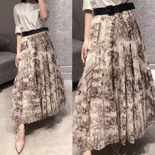 New 2019 spring summer Linen-cotton blended vintage Skirts Chic animal print G167