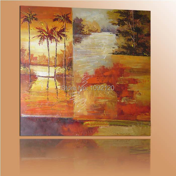 Modern Wall Paintings Hand Painted Abstract Sunset Coconut Tree Yellow Landscape Cnavas Oil Painting For Home Decor