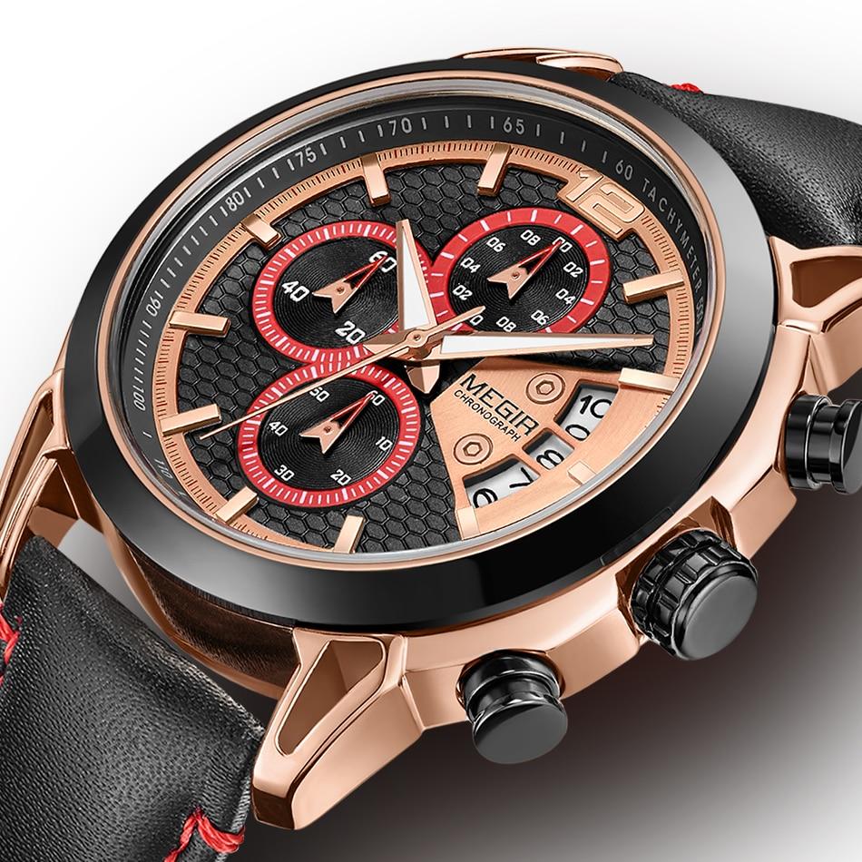 Роскошные megir часы мужские спортивные наручные часы мчс кожаный ремешок кварцевые часы.