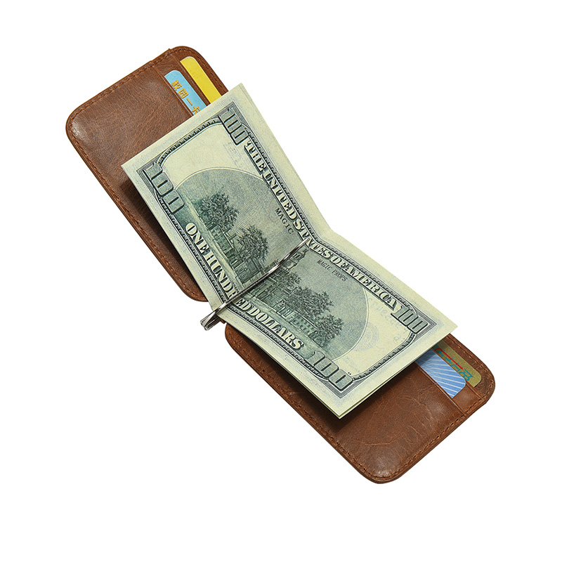 2017 New Men Real Leather Wallet with Money Clip Bifold Genu