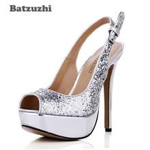 Batzuzhi Open Toe Sexy Women Shoes Singback Silver Glitter Party Pumps Platform 14cm Heels 1cm Wedding Bridal