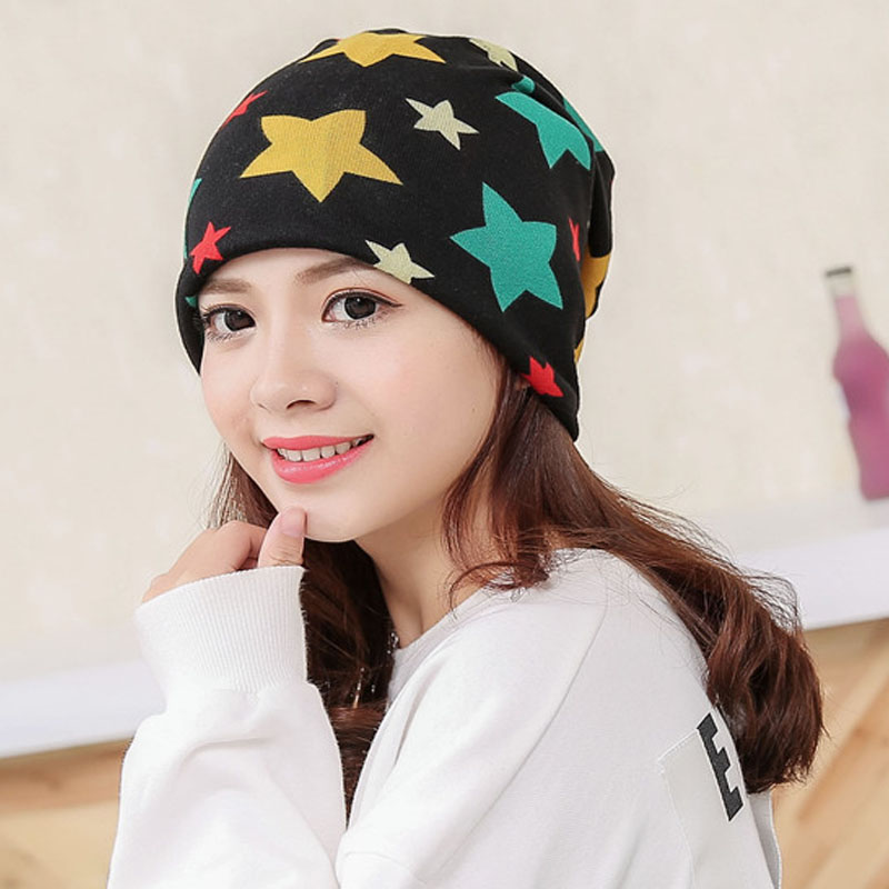 NEW Fall Winter Knit Baggy Women Hats Star Fashion Casual Beanie Cap High Elasticity Female Skullies Cotton Girl Hat knitting