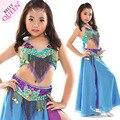 Новые девушки костюмы belly dance старший бисером бюстгальтер топ + ремень + юбка 3 шт. танец живота набор для девочек танец живота костюмы 4516