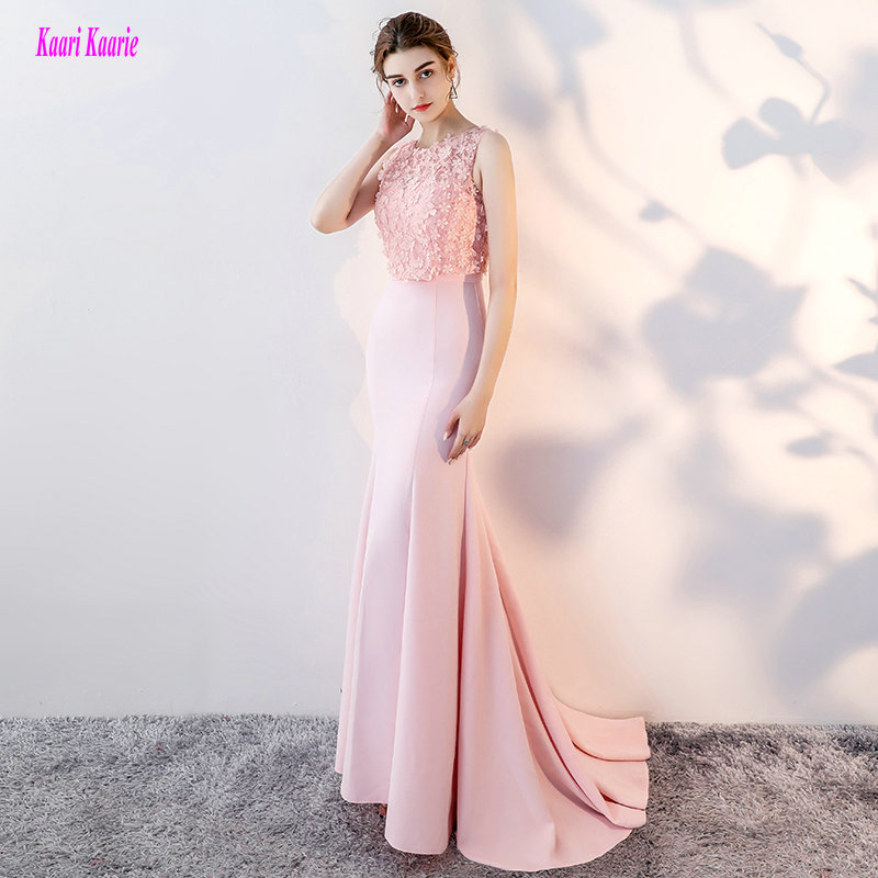Glamorous Pink Formal   Dresses   Long 2018 New Sexy Club   Evening     Dress   O-Neck Elastic Satin Lace Custom Made   Evening   Party Gowns