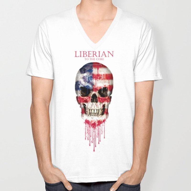 Liberia bandera del cráneo del v-cuello de los nuevos hombres de la ...
