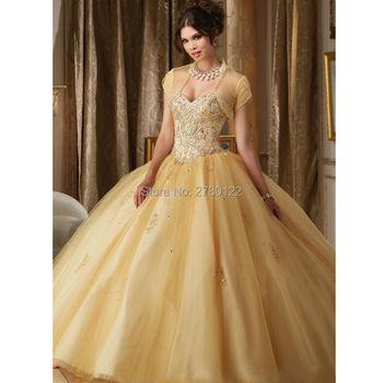 5dbaa0d17 Elegante Con Cuentas de Oro Barato Vestido de Quinceañera Durante 16 Años  Puffy Balón vestido Con La Chaqueta de Novia Corest 15 Vestido de Debutante