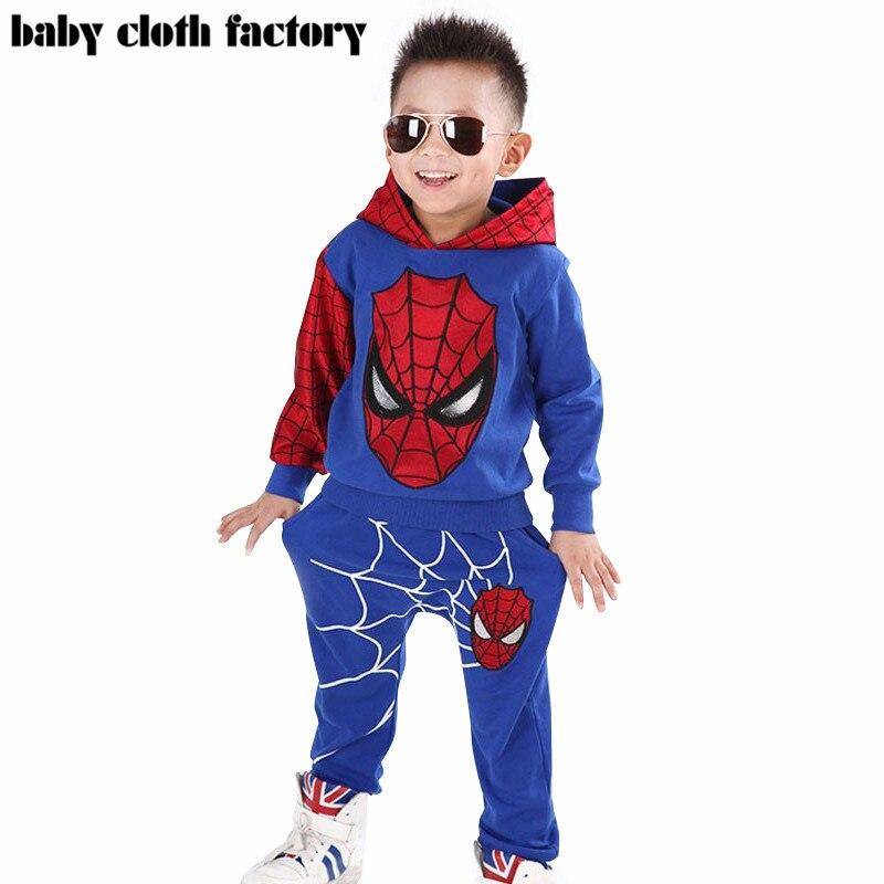 Marvel Comic Classic <font><b>Spiderman</b></font> Child Costume Sports suit 2 pieces <font><b>set</b></font> Tracksuits <font><b>boys</b></font> Clothing <font><b>sets</b></font> Coat+Pant for 2-7y