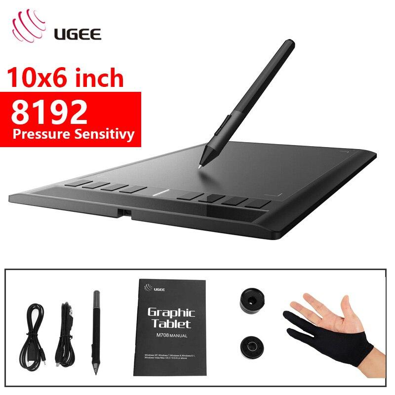 Ugee nouveau M708 Numérique dessin Tablette graphique tablette 10*6 Pouces 8192 sensibilité à la pression avec Sans Fil Stylo noir gants