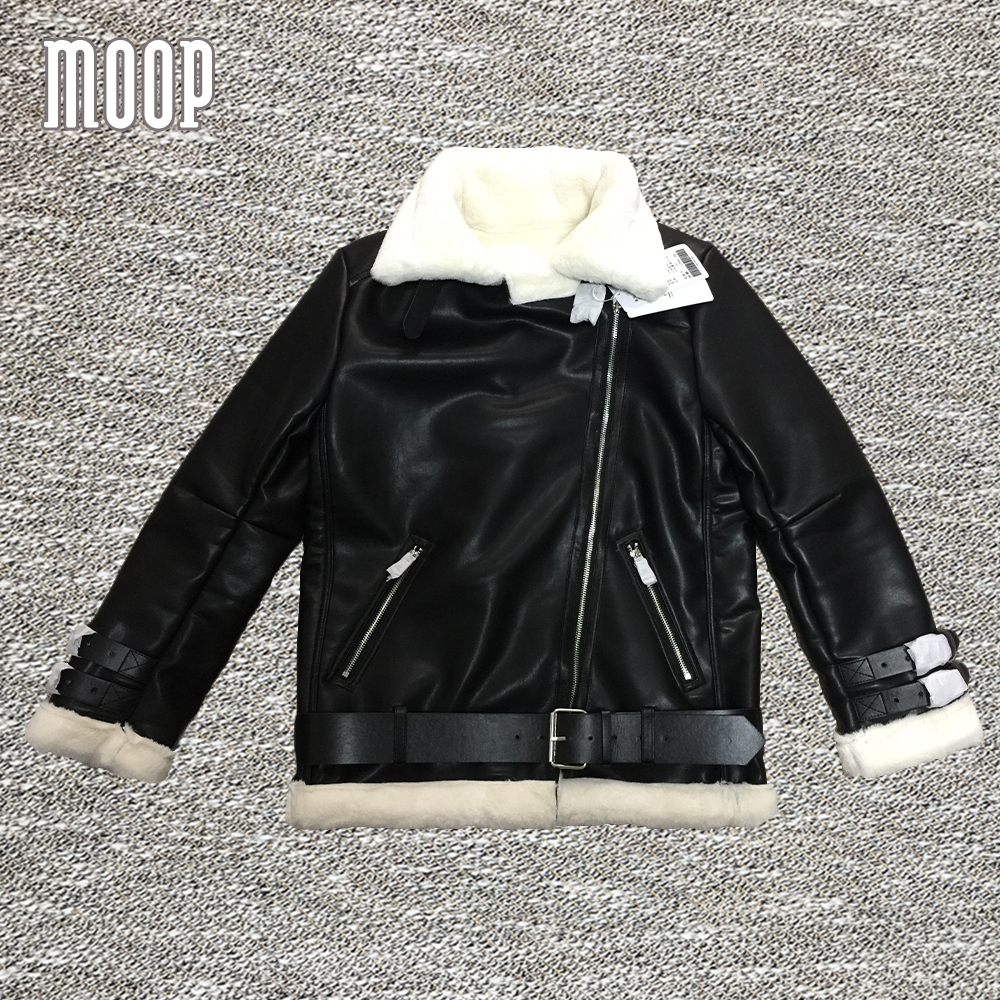 American style black PU   leather   jackets coats thick real rabbit fur lined   leather   motorcycle jacket veste en cuir femme LT1014