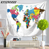 KYYZROZZZ 1PCS Colorful World Map Tapestry Wall Rectangle Polyester Sand Beach Carpet High Quality For Children