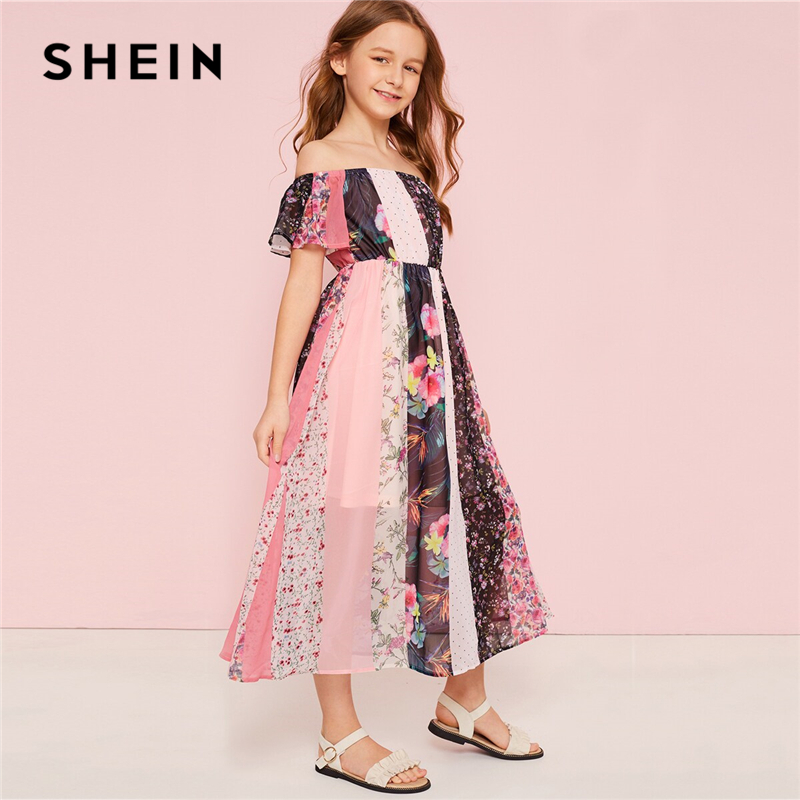 SHEIN Kiddie Off The Shoulder Floral Print Boho Beach Girls Dress 2019 Summer High Waist Colorblock A Line Flared Long Dresses
