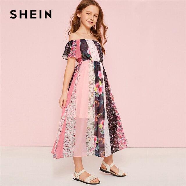 SHEIN для малышей с открытыми плечами с цветочным принтом пляжное, богемное, с принтом платье для девочек 2019 летние Высокая Талия Colorblock (цветовой блок), линия расклешенные длинные платья
