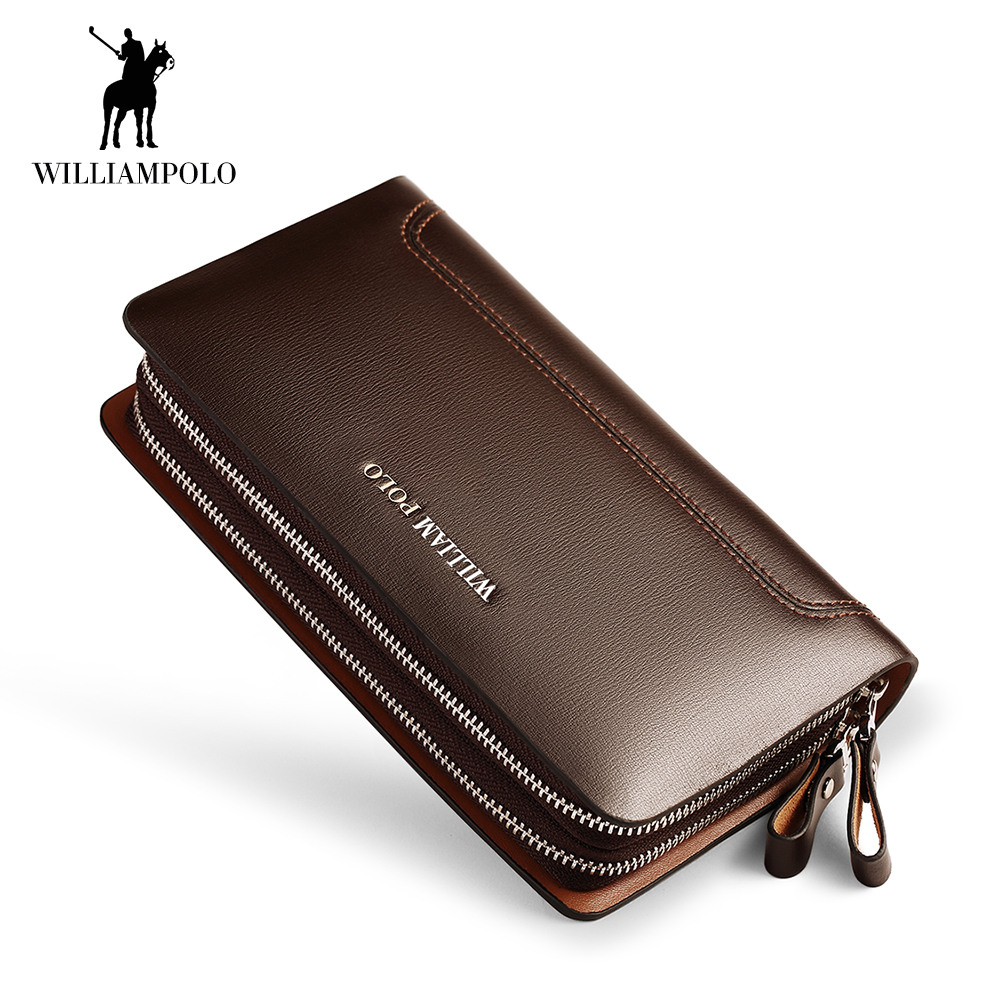 WilliamPOLO Men Wallets Genuine Leather Clutch Bag Long Wallet Business double zipper Purse Phone Card Holder Coin Purse Men