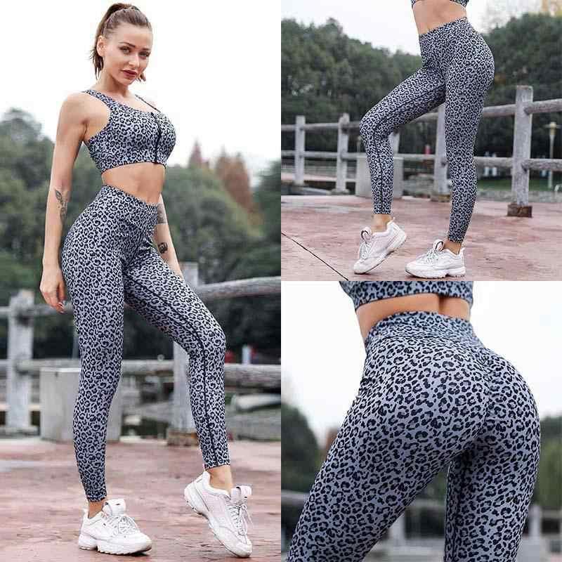 75ea27b2991e Leopard Print Yoga Set Running Tights Set Women Sport Clothing Leggings For  Fitness Sports Bra Wear