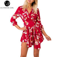 2017 Elegant Long Sleeve Red Floral Print Boho Autumn Dress Cross Over Sashes V Neck Women