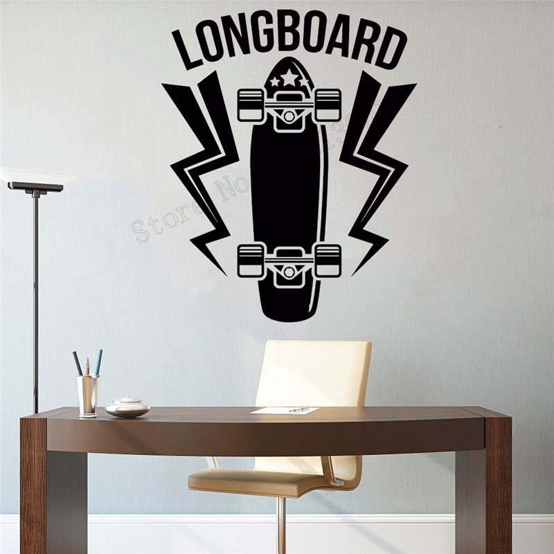 Wall Art Sticker longboard Decoration Removeable Poster Vinyl Mural Skateboard Sport Ornament Modern Fashion Decal LY424